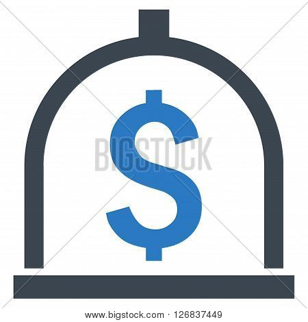 Dollar Deposit vector icon. Style is bicolor flat symbol, smooth blue colors, white background.