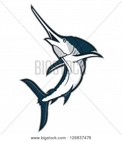 Clipart picture of a marlin fish cartoon mascot character