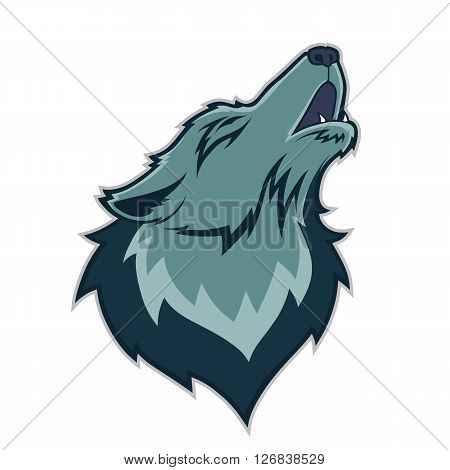 Clipart picture of a wolf head cartoon mascot character