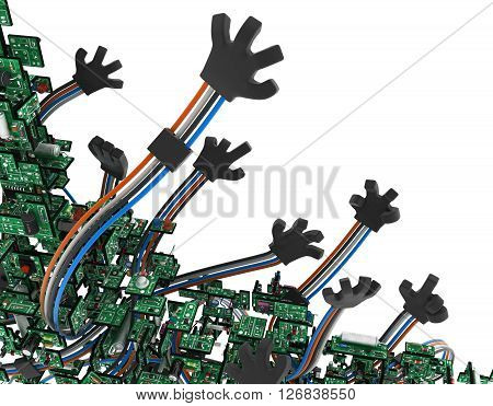 Electronic circuit wired arms isolated 3d illustration