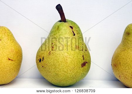 Three yellow speckled pears against white background
