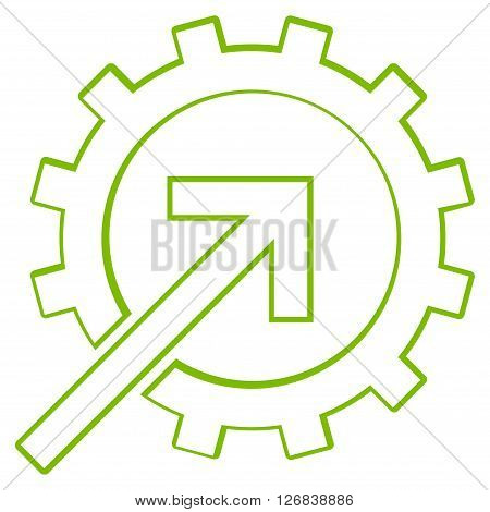 Integration Arrow vector icon. Style is stroke icon symbol, eco green color, white background.