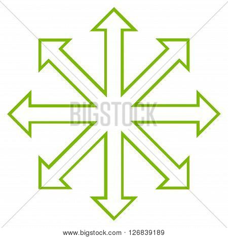 Maximize Arrows vector icon. Style is stroke icon symbol, eco green color, white background.