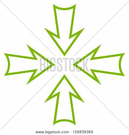 Minimize Arrows vector icon. Style is thin line icon symbol, eco green color, white background.