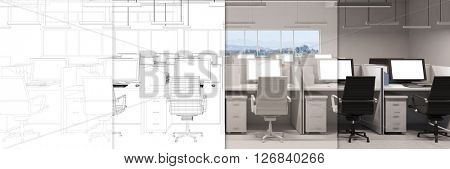CAD planning of modern office from blueprint to 3D Rendering