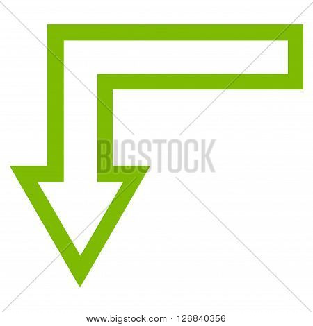 Turn Down vector icon. Style is outline icon symbol, eco green color, white background.