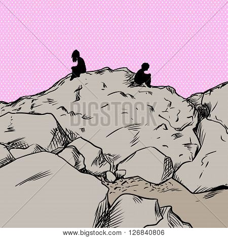 Upset Lovers Over Pink On Mountain