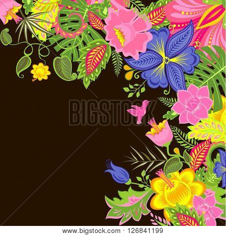 Tropical background with exotic flowers