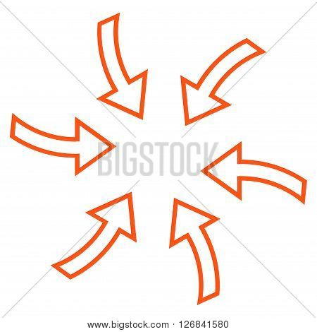 Cyclone Arrows vector icon. Style is stroke icon symbol, orange color, white background.