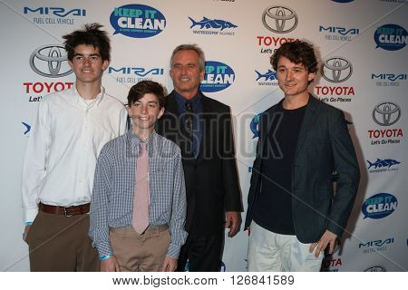 LAS VEGAS - APR 21:  Conor Richard Kennedy, Aiden Kennedy, Robert F. Kennedy, Jr. and Bobby Kennedy III at the Keep It Clean Comedy Benefit at Avalon on April 21, 2016 in Los Angeles, CA