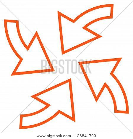 Cyclone Arrows vector icon. Style is thin line icon symbol, orange color, white background.