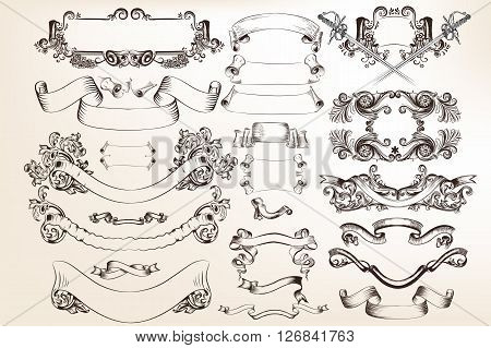 A collection or set of vector banners and ribbons in victorian vintage style filigree drawings