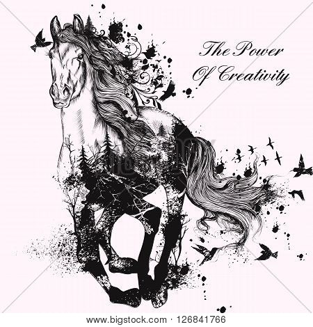 Art fashion illustration with hand drawn detailed running horse from splashes spots birds trees butterflies and other the power of creativity and imagination