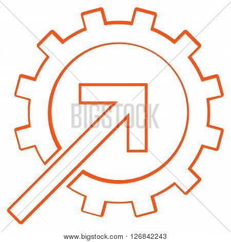 Integration Arrow vector icon. Style is outline icon symbol, orange color, white background.
