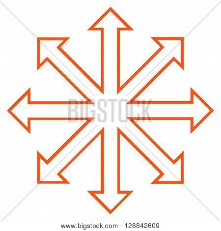 Maximize Arrows vector icon. Style is outline icon symbol, orange color, white background.