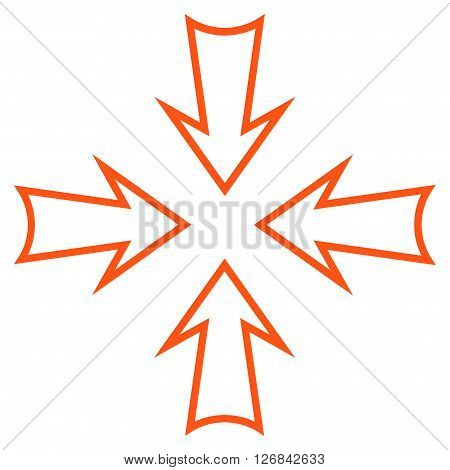 Minimize Arrows vector icon. Style is stroke icon symbol, orange color, white background.