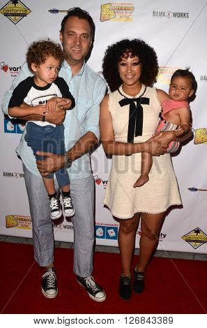 LOS ANGELES - APR 17:  Aden John Tanner Housley, Adam Housley, Tamara Mowry-Housley, Ariah Housley at the Milk + Bookies Story Time at the California Market Center on April 17, 2016 in Los Angeles, CA