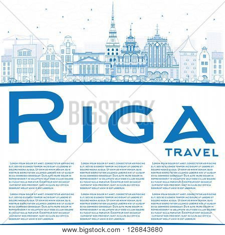 Outline Riga Skyline with Blue Landmarks and Copy Space. Vector Illustration. Business Travel and Tourism Concept with Historic Buildings. Image for Presentation Banner Placard and Web Site.