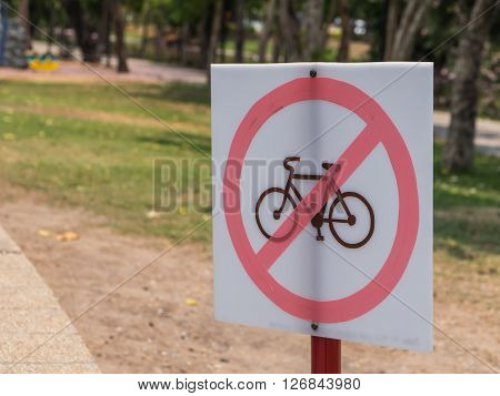 Bike not allow sign post this area