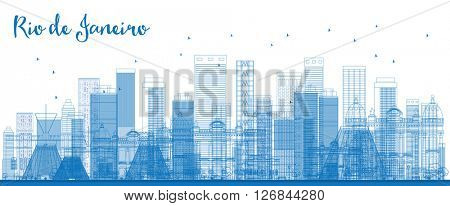 Outline Rio de Janeiro skyline with blue buildings. Vector illustration. Business travel and tourism concept with modern buildings. Image for presentation, banner, placard and web site.