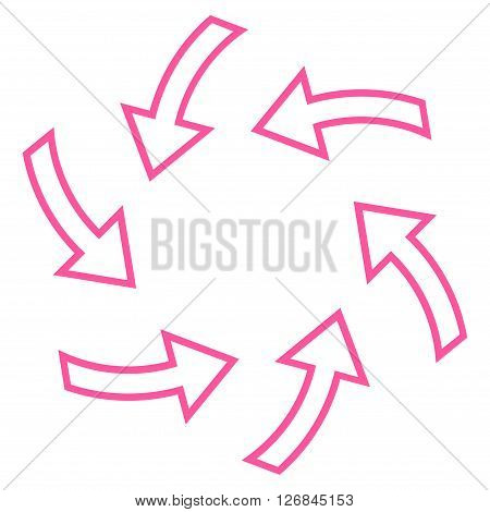 Cyclone Arrows vector icon. Style is outline icon symbol, pink color, white background.