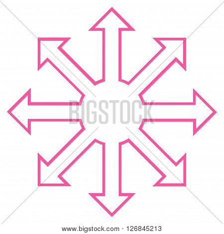 Enlarge Arrows vector icon. Style is outline icon symbol, pink color, white background.