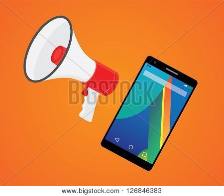 mobile marketer promotion with smartphone and megaphone vector illustration
