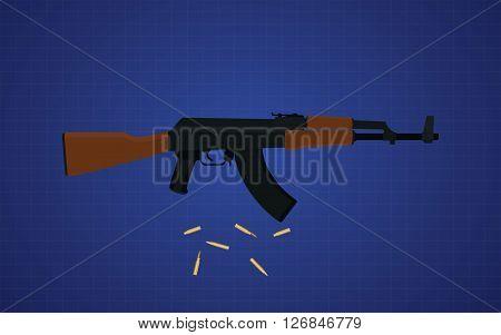 ak47 gun vector with blue background vector