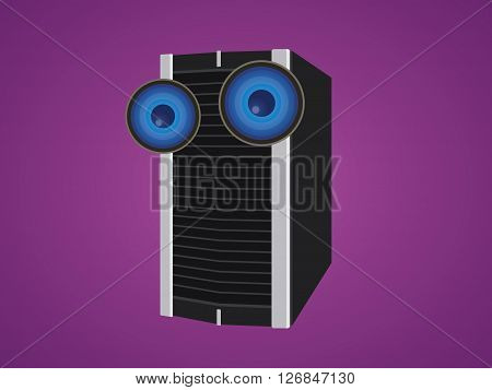 server isolated cartoon with two big eyes vector illustration