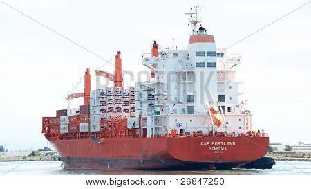 Cargo Ship Cap Portland Entering The Port Of Oakland