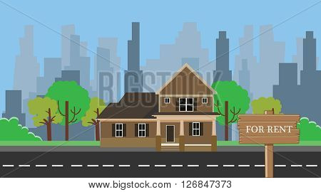 home for rent with wood wooden sign board vector illustration
