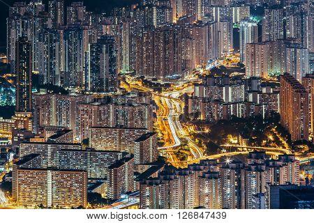 Hong Kong city light, night in Hong Kong