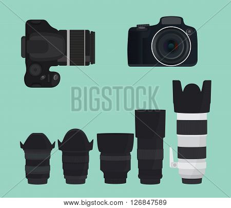 slr dslr camera collection with lens vector illustration