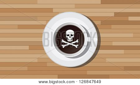 poison poisonous coffee illustration with skull sign vector