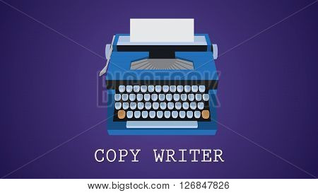 copywriting copywriter illustration with type machine vector  illustration
