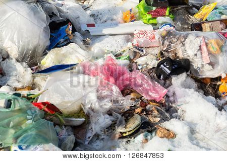 UFA - RUSSIA 3RD MARCH 2016 - Piles of Old Rubbish in Ufa Russia collected in a pile in preparation for collection in March 2016.