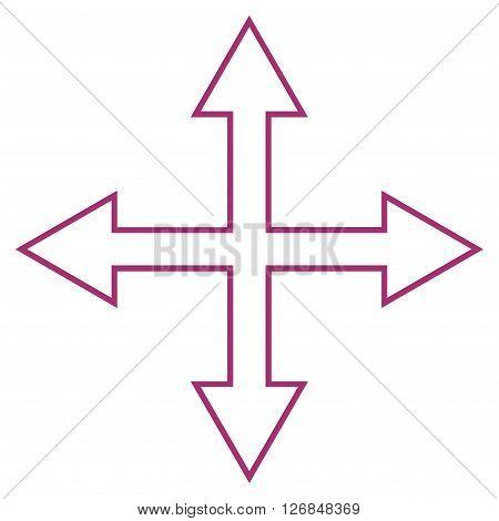 Maximize Arrows vector icon. Style is contour icon symbol, purple color, white background.