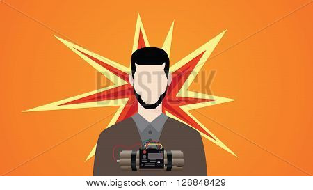 suicide bomb illustration with man dynamite and explosion symbol vector