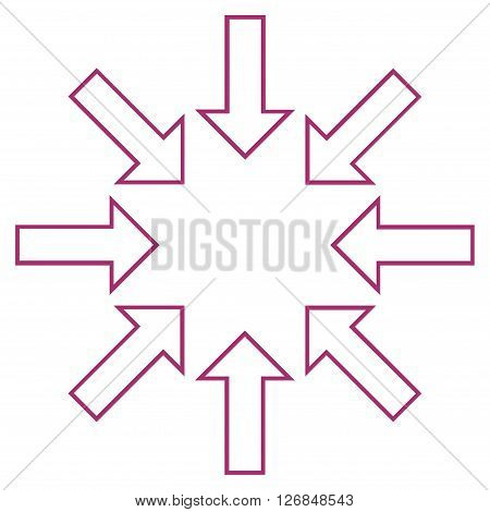 Pressure Arrows vector icon. Style is outline icon symbol, purple color, white background.