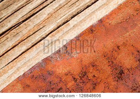 Orange Rust And Wood Textures