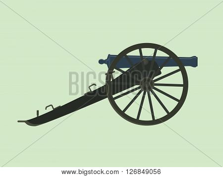 artillery civil war cannon isolated with green background vector illustration