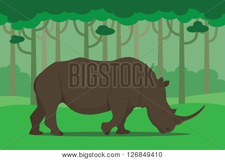 rhinoceros in the middle of jungle eating grass vector illustration