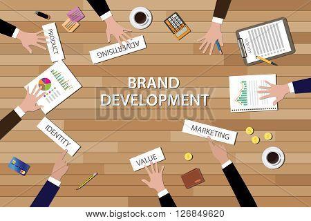 brand development illustration team work together on wood table vector illustration