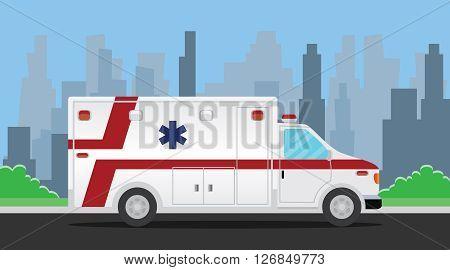 ambulance transportation vehicle on the road vector illustration