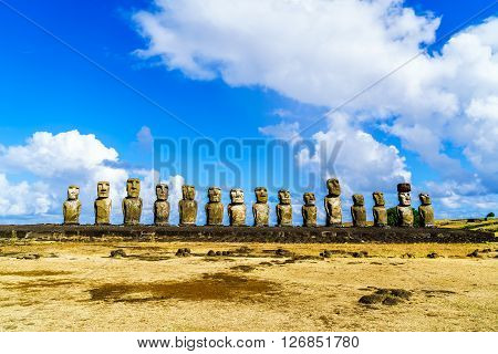 Moai at Ahu Tongariki in the Rapa Nui National Park on Easter Island, Chile