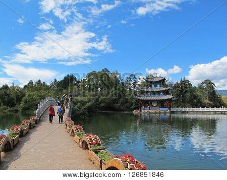 LIJIANG CHINA - OCT 18 : Heilongtan Black dragon pool in Lijiang Yunnan China on October 18, 2015