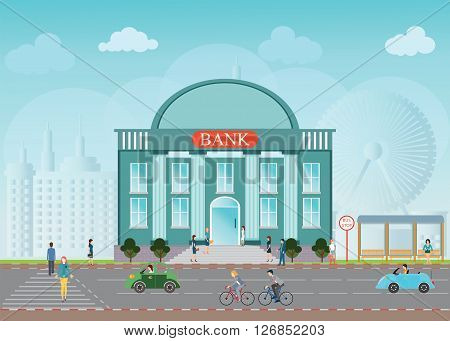 Bank building exterior in city space skylines behind background bus station people walking on a crosswalk conceptual Vector illustration design.