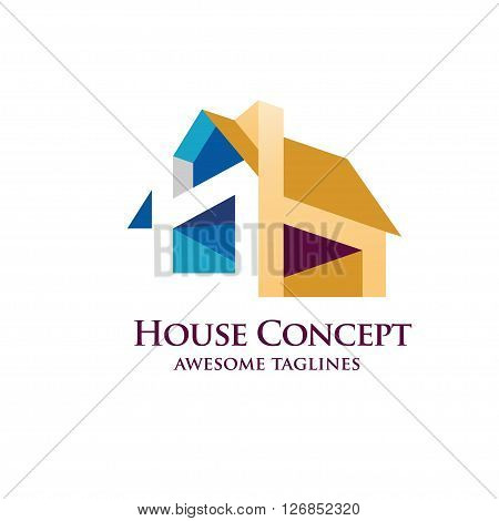 House Design Concept  colorful Geometric Elements Logo.