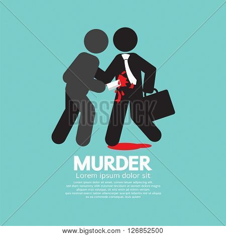 Businessman Being Stabbed With A Knife Vector Illustration. EPS 10