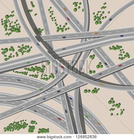 Transport interchange with cars. Traffic with cars on motorway or highway junction.